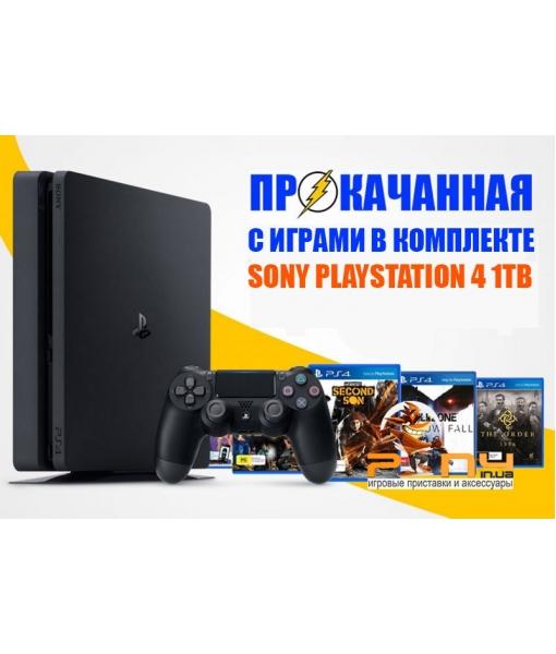 SONY PLAYSTATION 4 SLIM 1TB (PS4 SLIM) + 17 ИГР В КОМПЛЕКТЕ