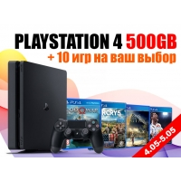 SONY PLAYSTATION 4 SLIM 500GB + 10 ИГР НА ВЫБОР